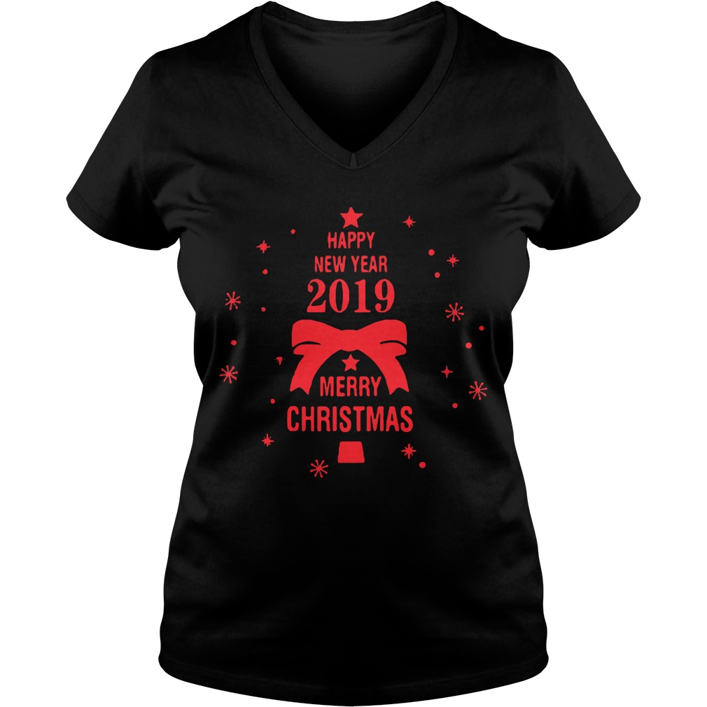 2019 Merry Christmas Happy New Year V-neck t-shirt