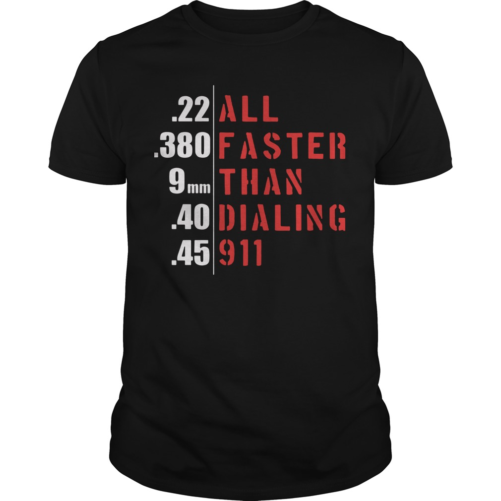 22 all 380 faster 9mm than 40 dialing 45 911 Guys Shirt