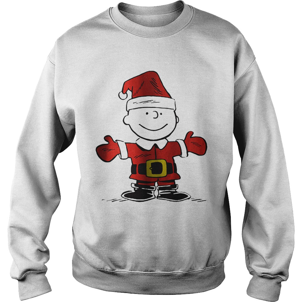 Charlie Brown is the Santa Claus sweater