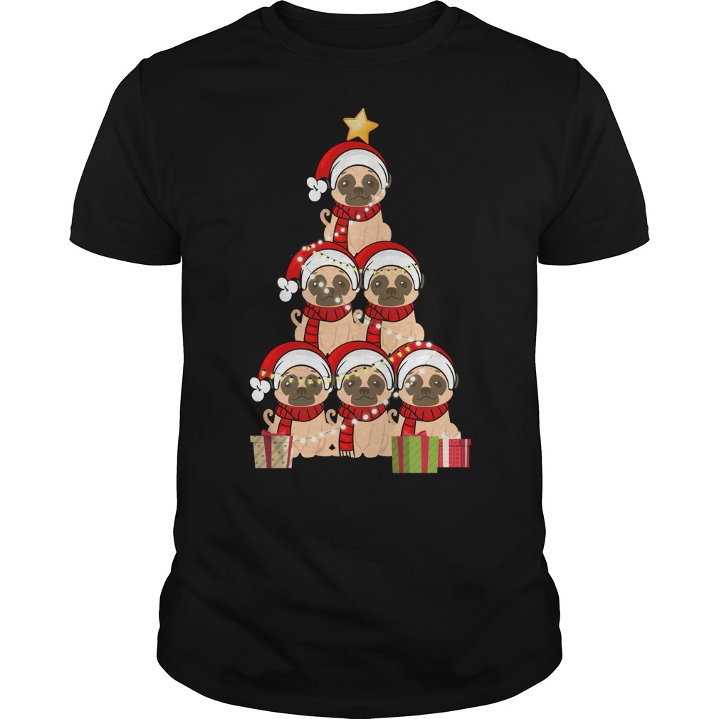 Christmas Pug Christmas tree Guys shirt