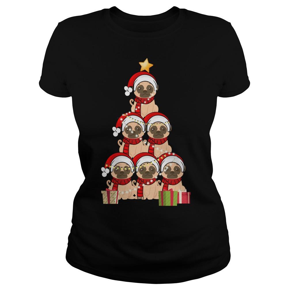 Christmas Pug Christmas tree Ladiess tee