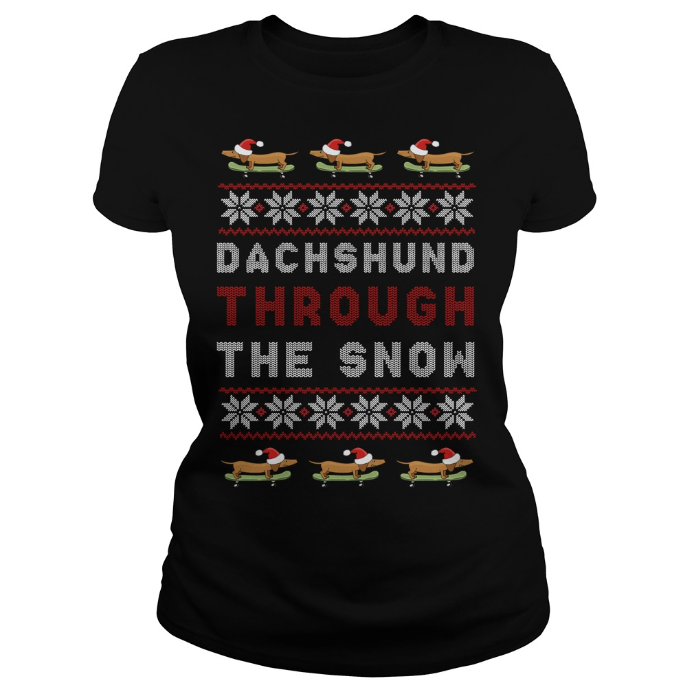 Dachshund Through The Snow Ugly Christmas Ladies Tee