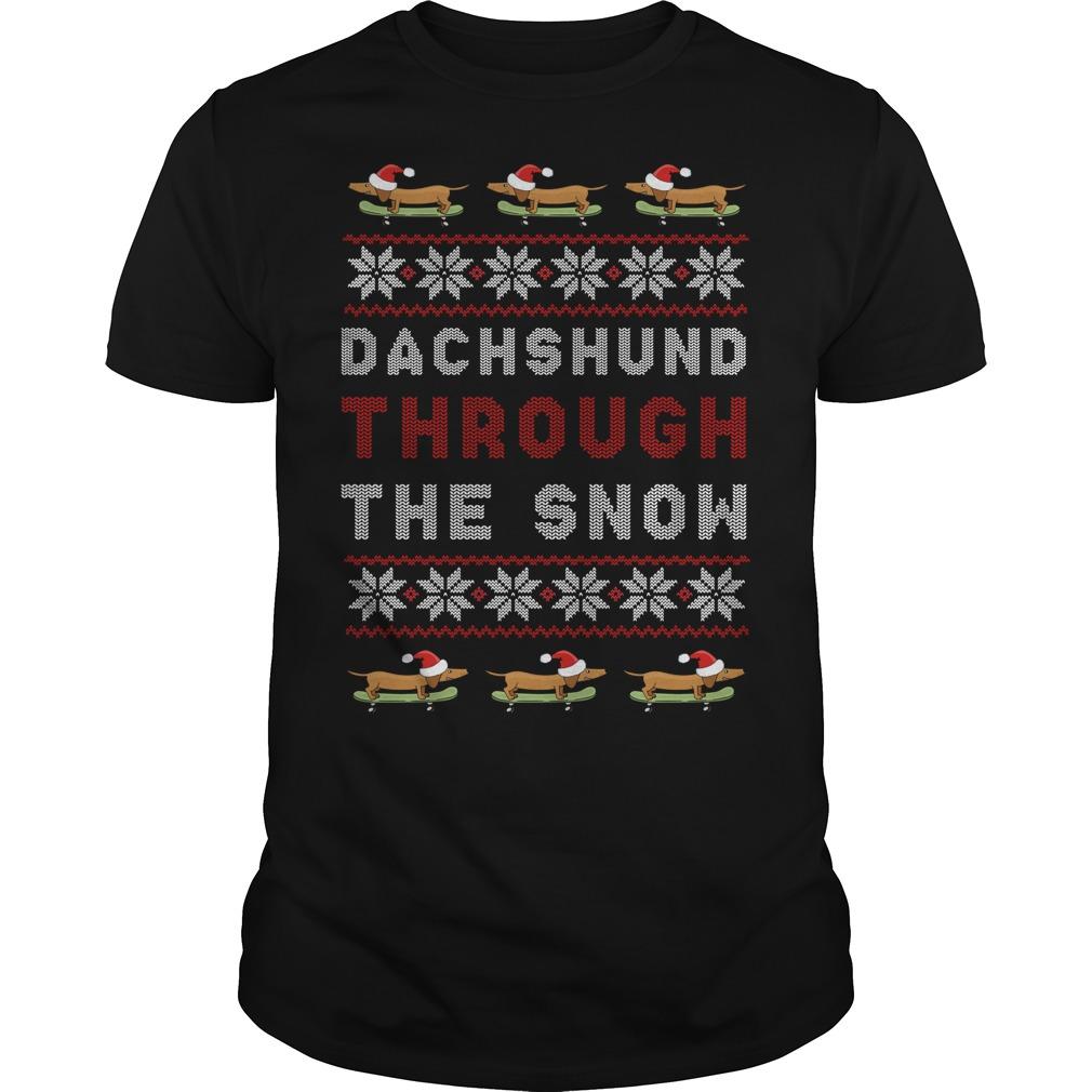 Dachshund Through The Snow Ugly Christmas Guys Shirt
