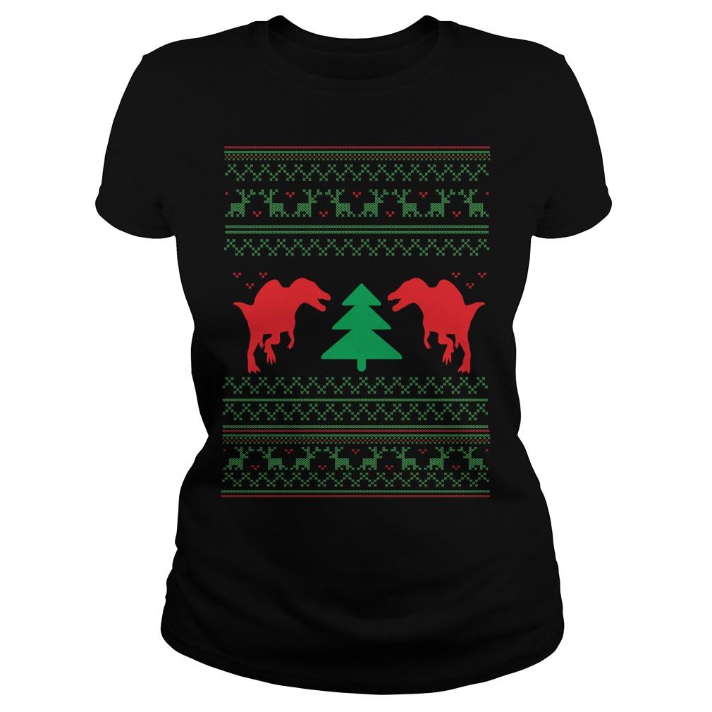 Dinosour ugly crewneck Christmas Ladies Tee