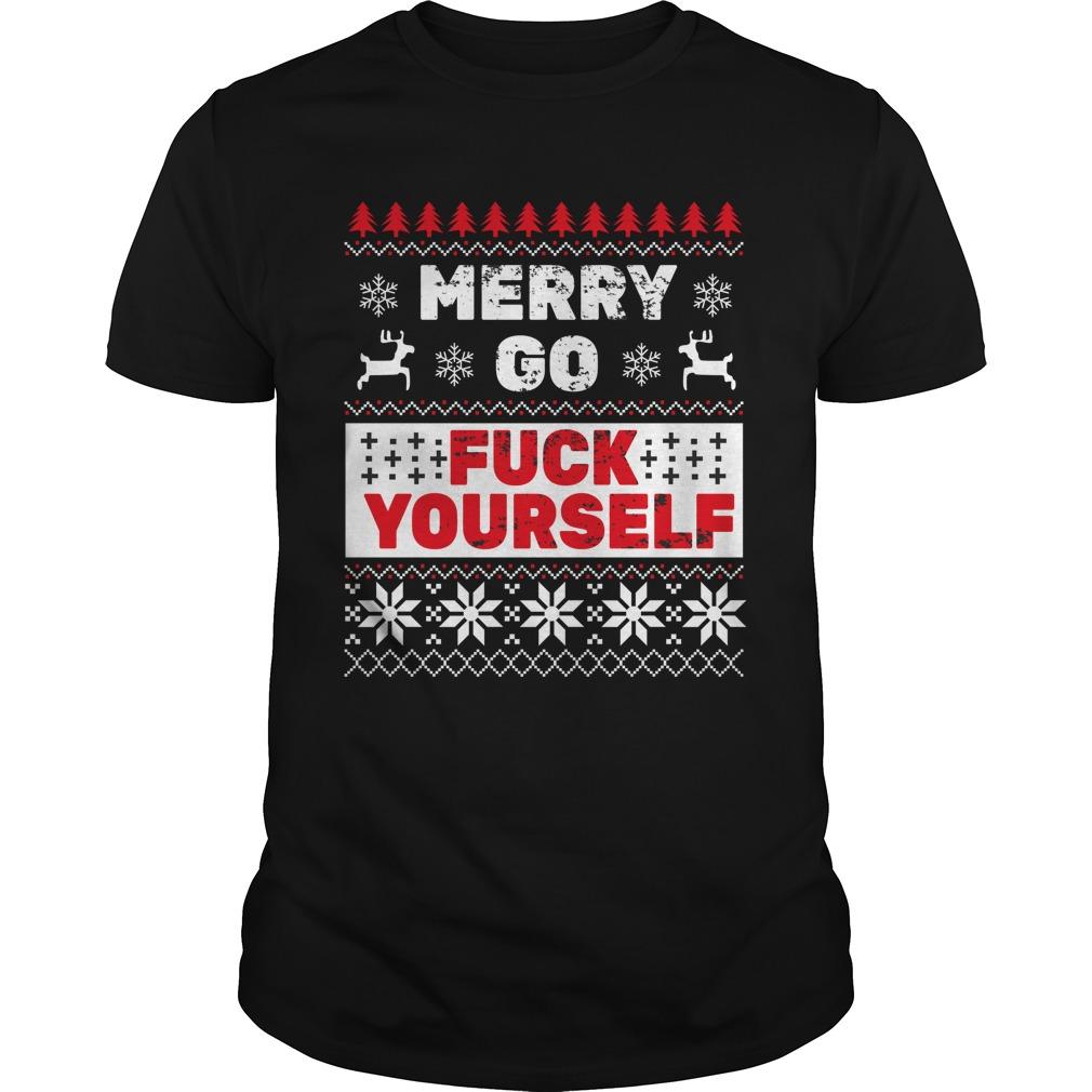 Elf merry go fuck your Elf ugly Christmas Guys Shirt