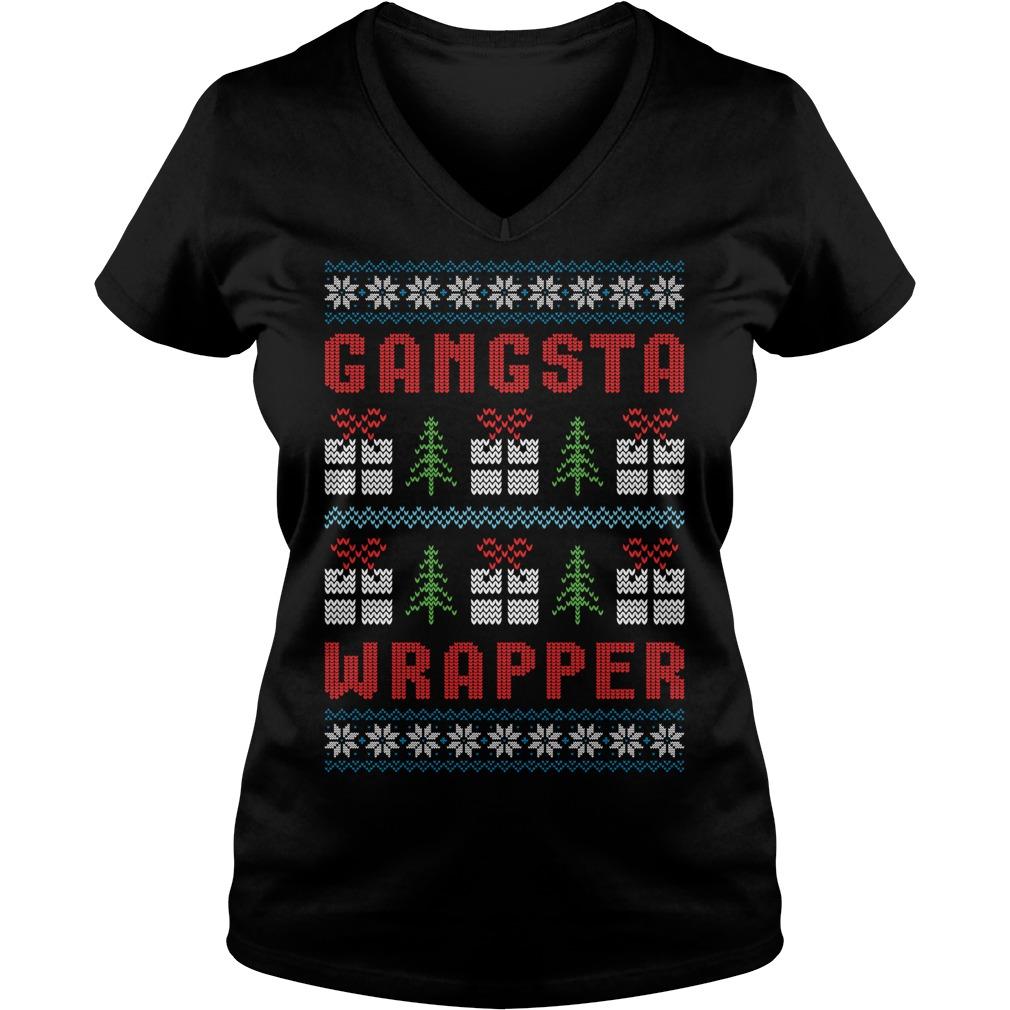 Gangsta Wrapper Ugly Christmas V-neck T-shirt