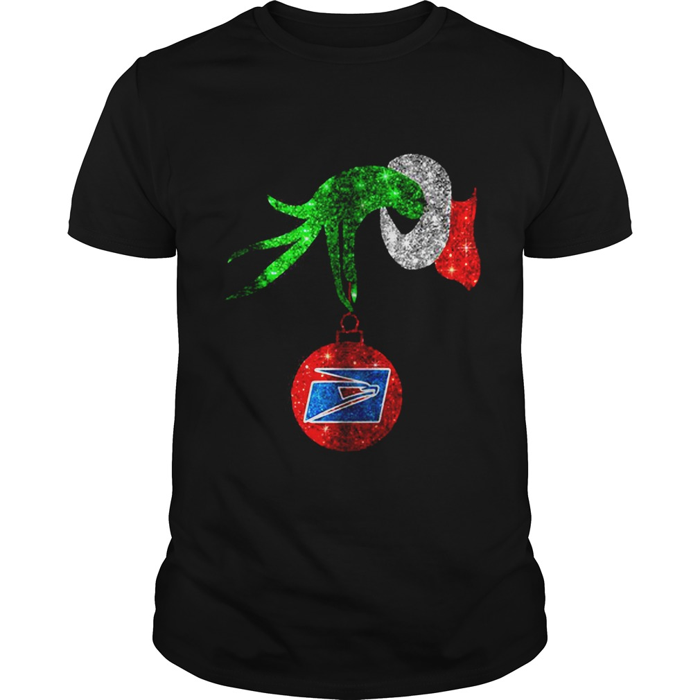 Grinch hand holding ornament US Postal Service Christmas Guys shirt