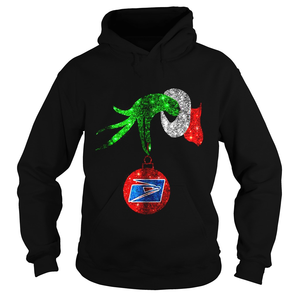 Grinch hand holding ornament US Postal Service Christmas Hoodie