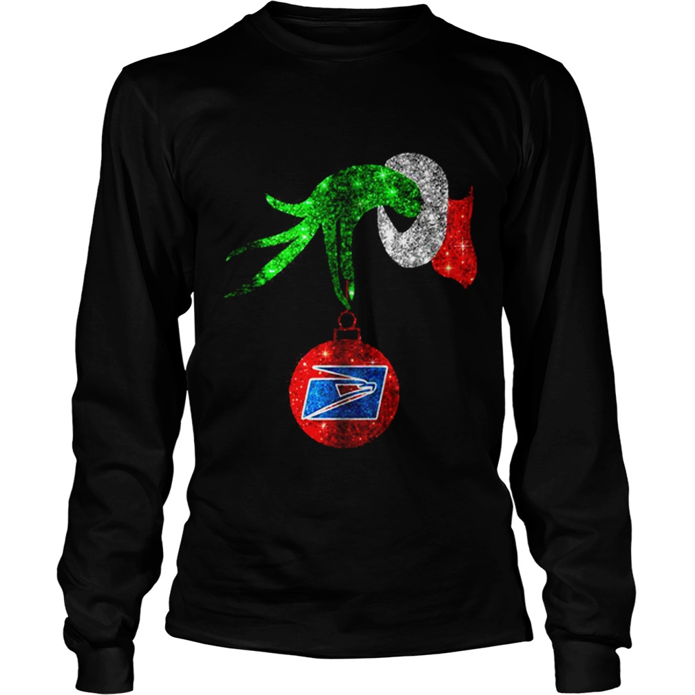 Grinch hand holding ornament US Postal Service Christmas Longsleeve tee