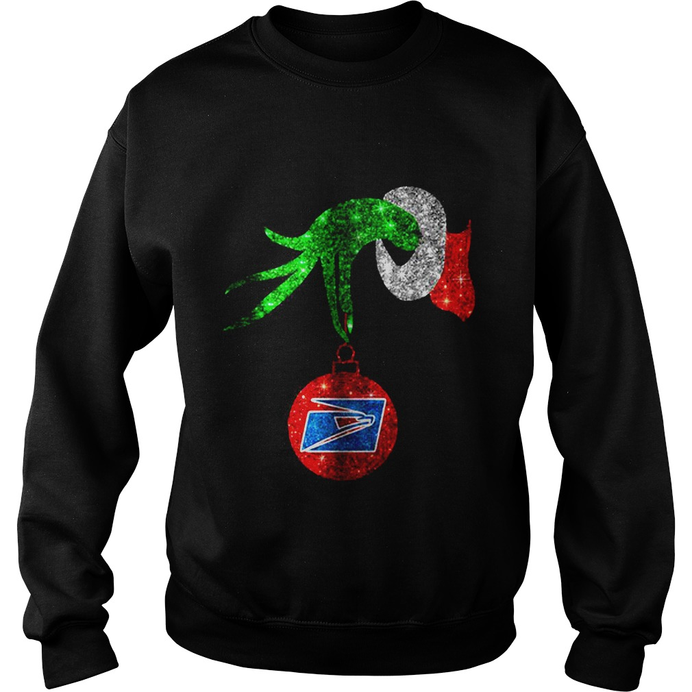 Grinch hand holding ornament US Postal Service Christmas Sweater