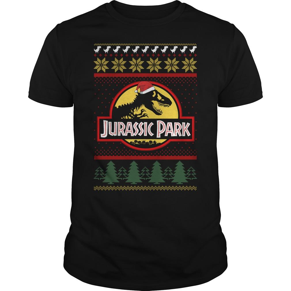 Jurassic park Christmas ugly crewneck Guys Shirt