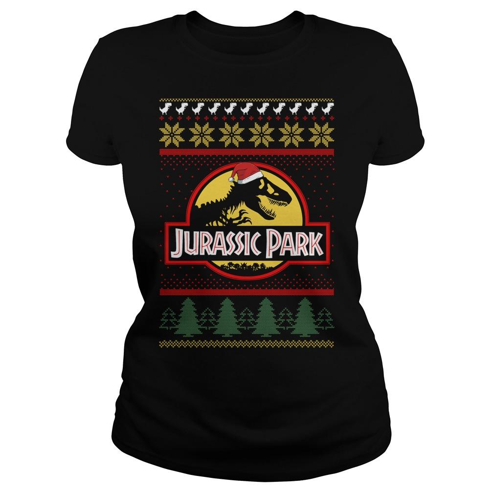 Jurassic park Christmas ugly crewneck Ladies Tee