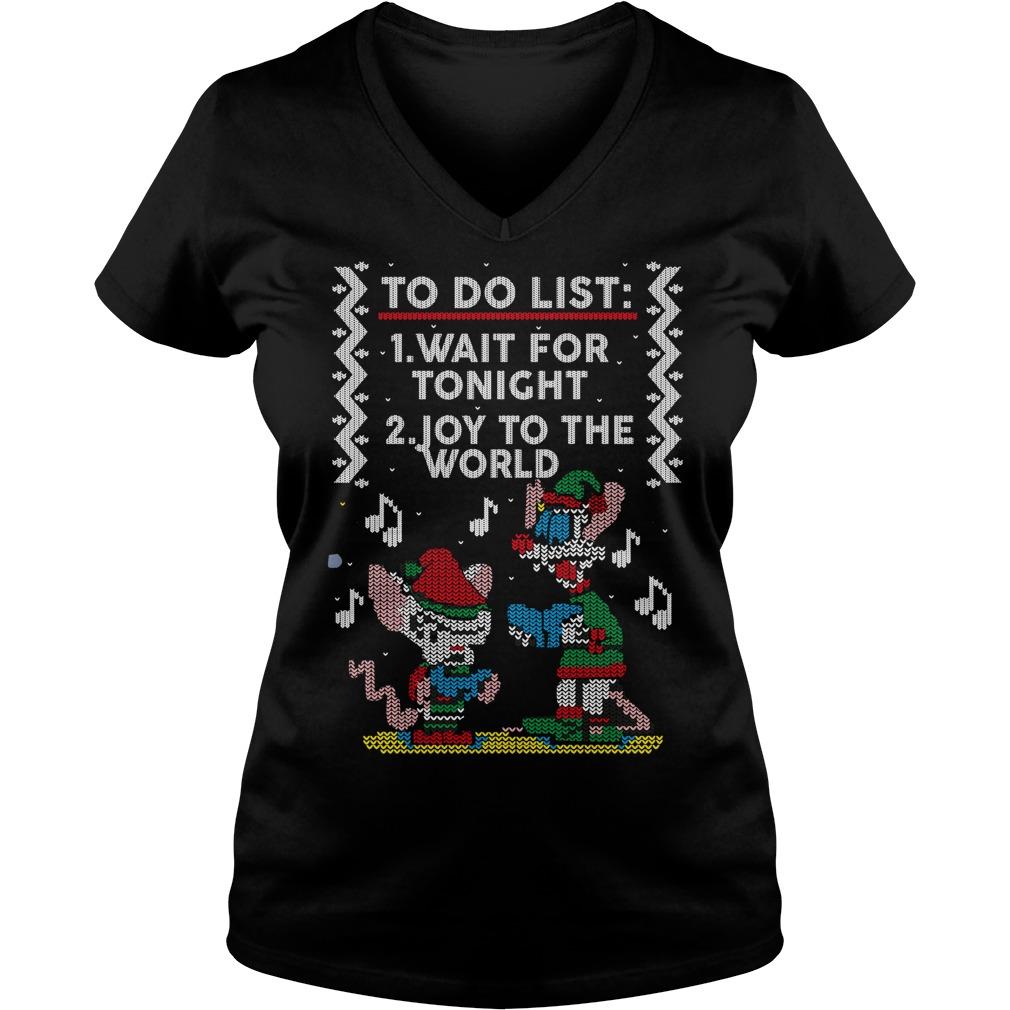 To do list wait for tonight joy to the world Christmas V-neck t-shirt