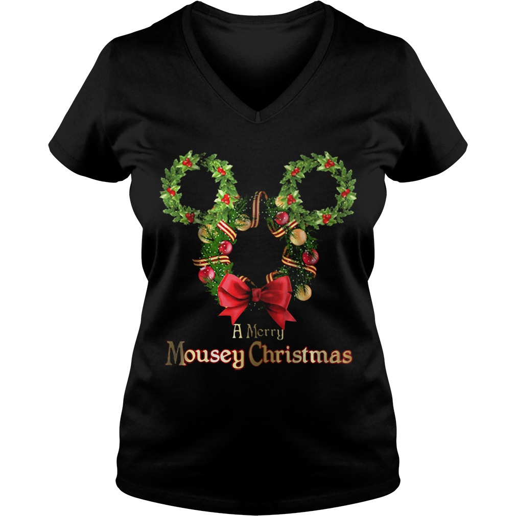 A Merry Mousey Christmas V-neck t-shirt