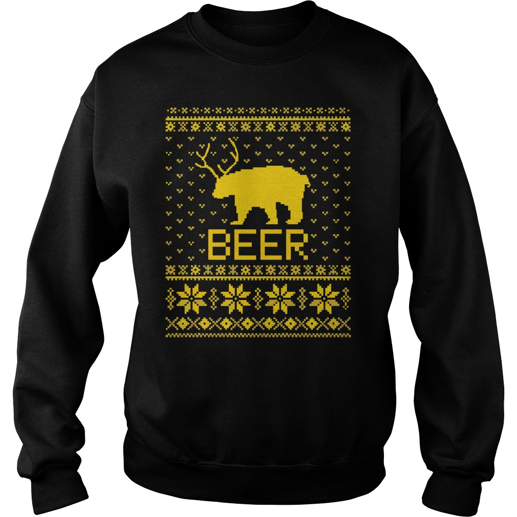 Party Beer Bear ugly Christmas sweater