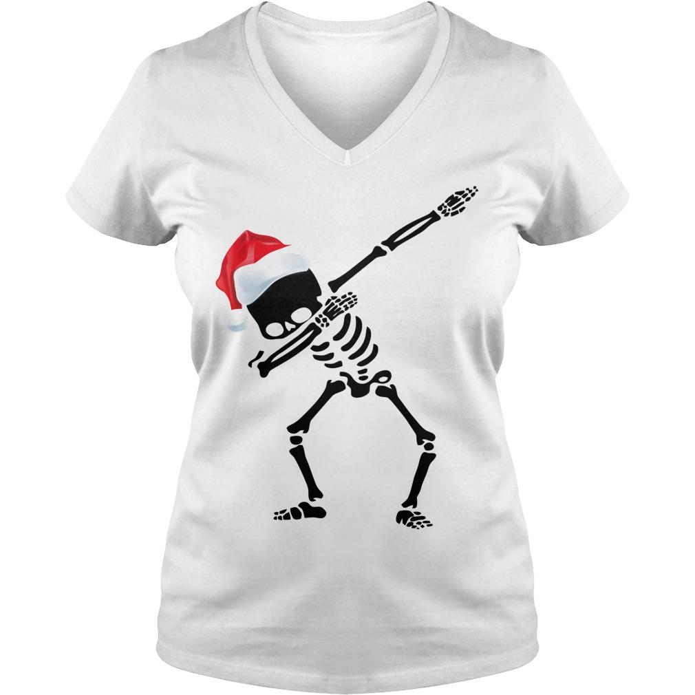 Skeleton Dabbing Christmas V-neck t-shirt