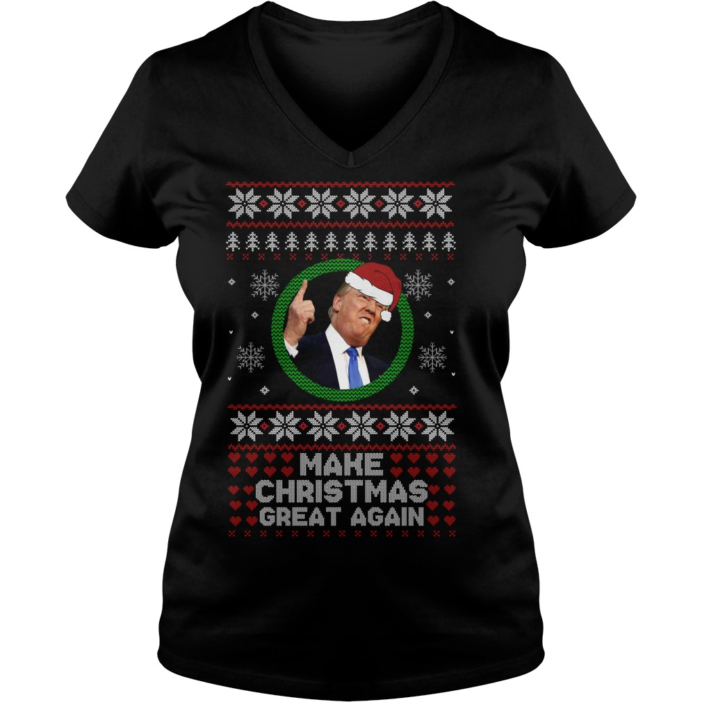 Trump make Christmas great again Christmas V-neck t-shirt