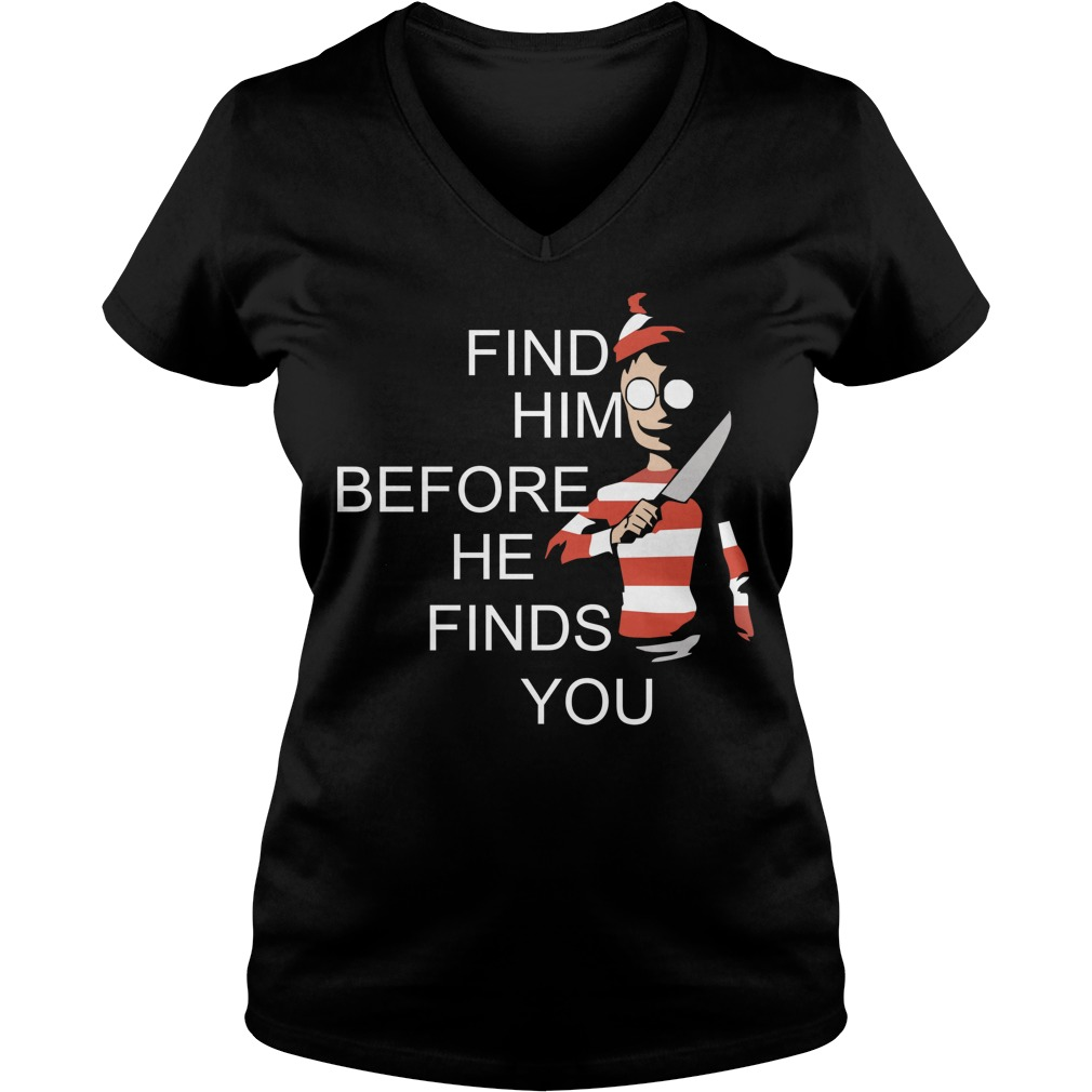 Where's Waldo Wally find him before he finds you V-neck T-shirt