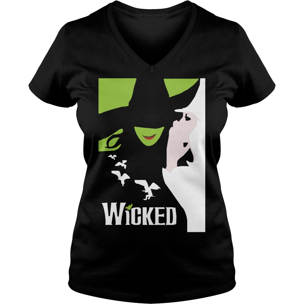 Wicked broadway musical about wizard of oz zipper V-neck T-shirt