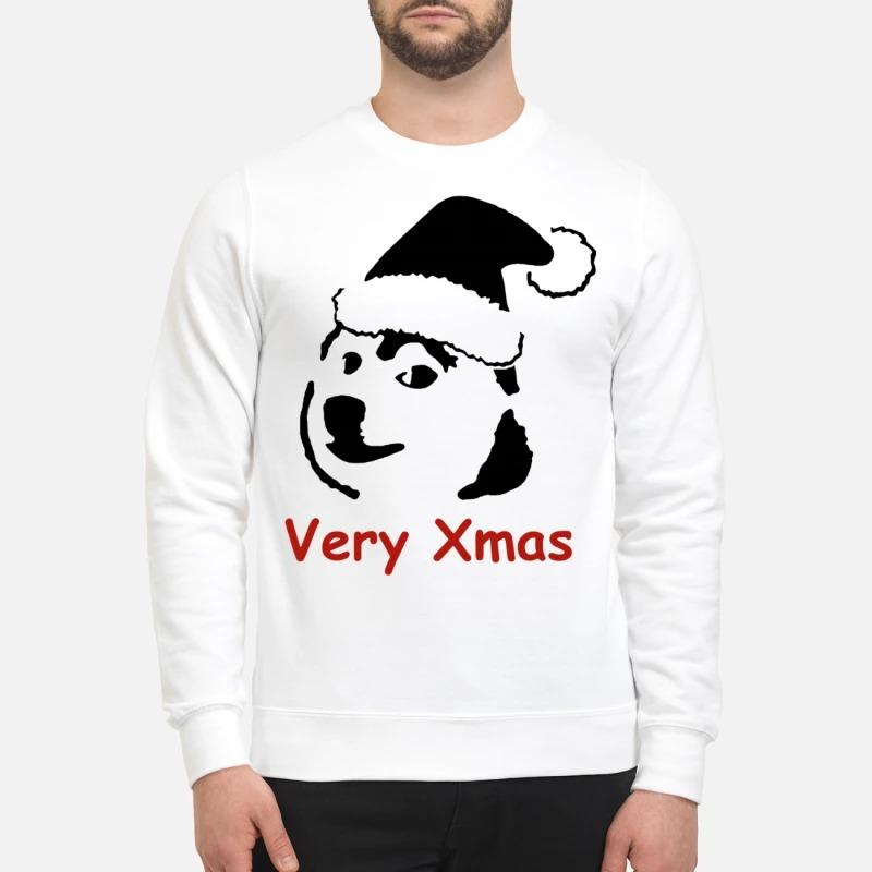 Doge Doggo Christmas Santa hat dog very Xmas Sweater