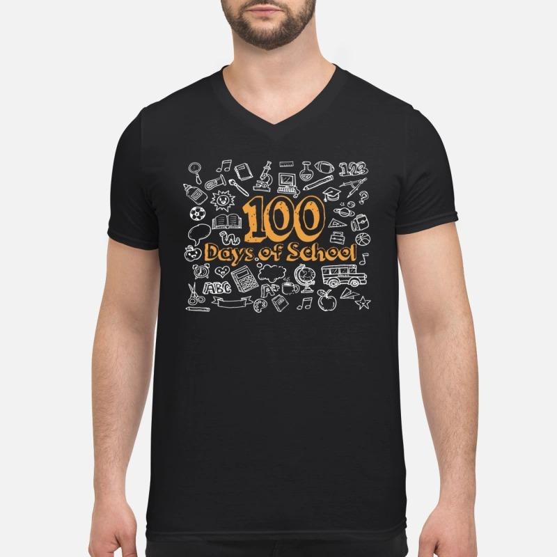 100 days of school V-neck T-shirt