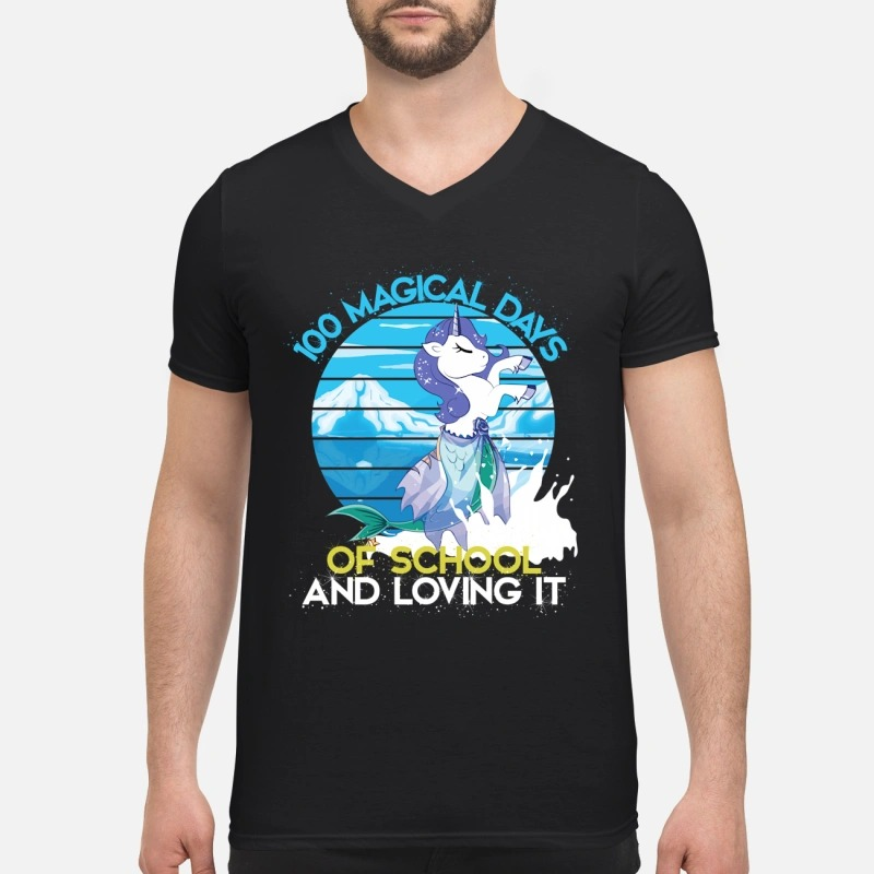 100 magical days of school and loving it 100th day of school V-neck T-shirt