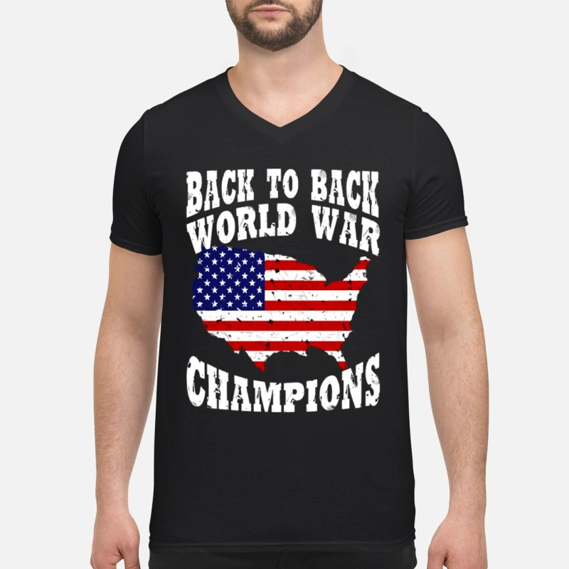 ed5a5246 Sweater America back to back world war champions V-neck T-shirt