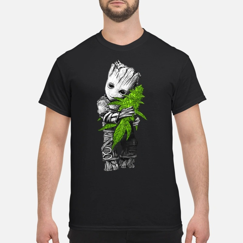 Baby groot hugs weed Guys Shirt
