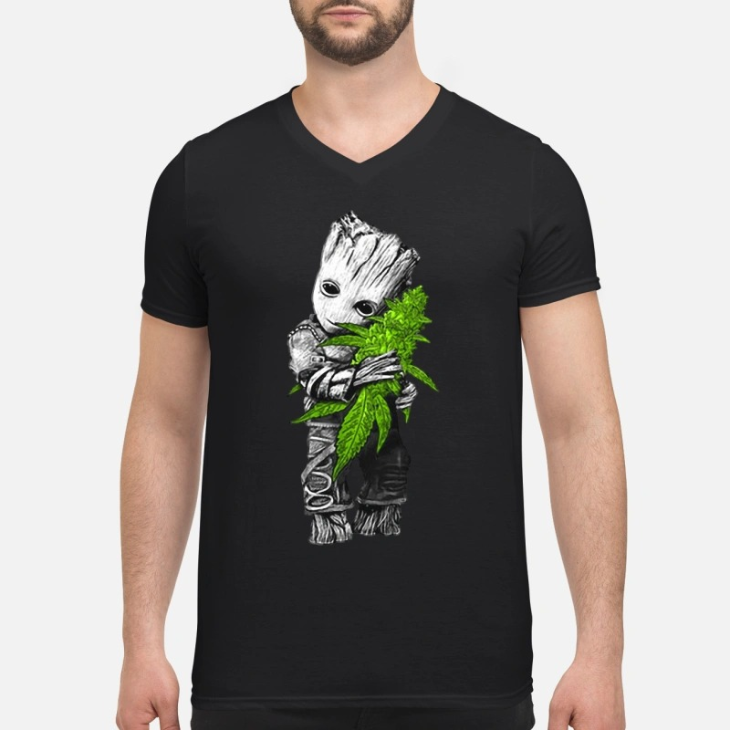 Baby groot hugs weed V-neck T-shirt