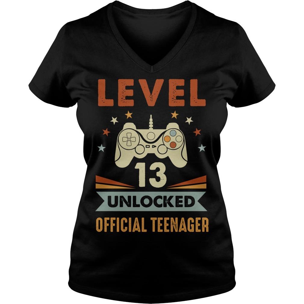 Gamer level 13 unlocked official teenager V-neck T-shirt