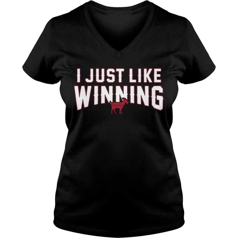 I just like winning V-neck T-shirt