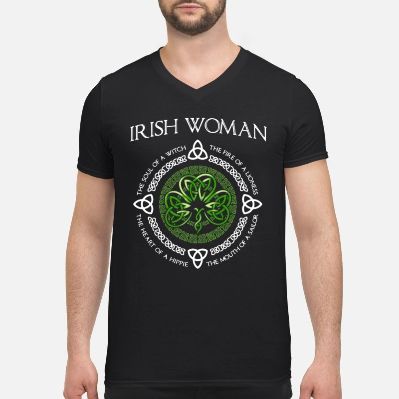 Irish Woman the soul of a witch the heart of a hippie V-neck T-shirt