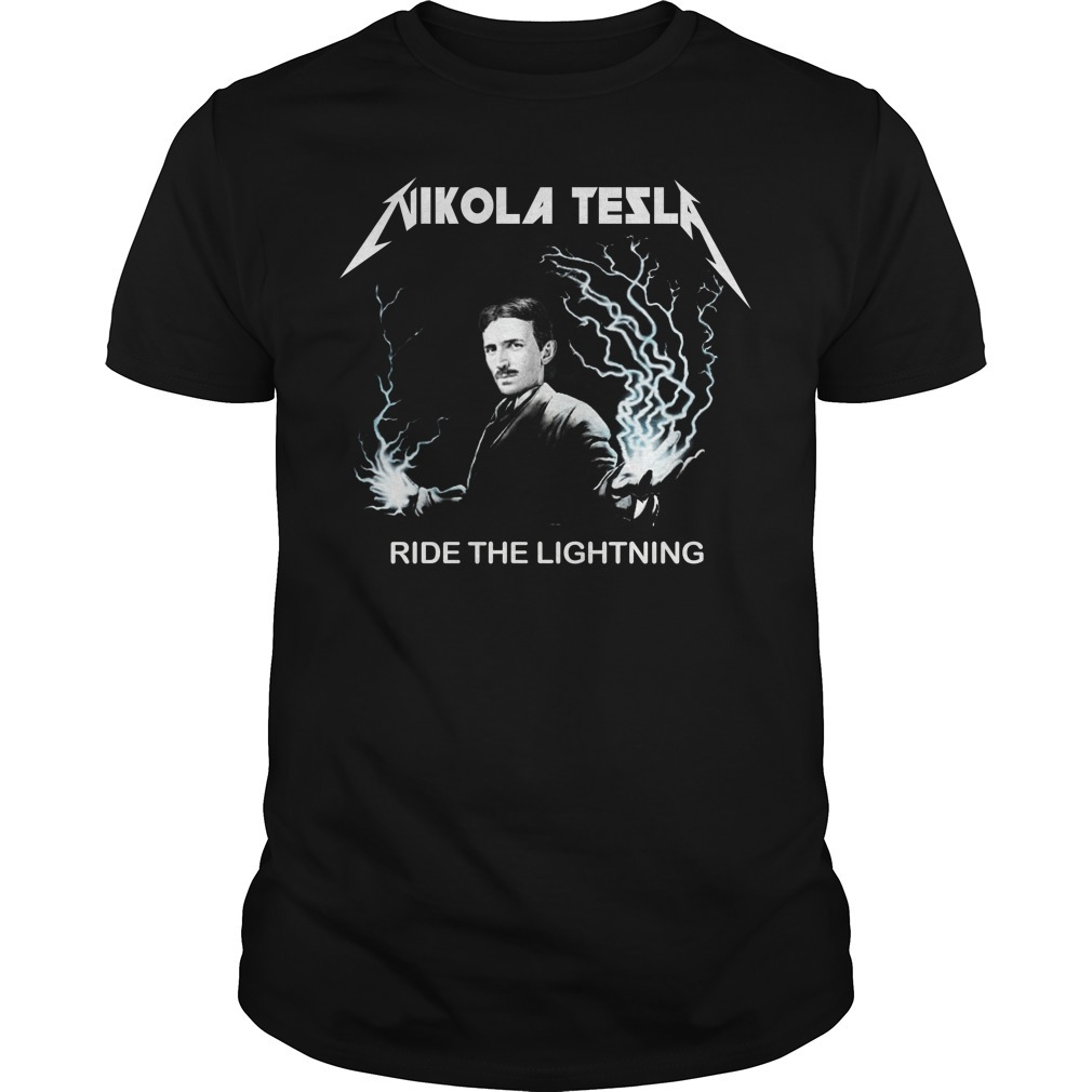 Nikola tesla ride the lightning Guys Shirt