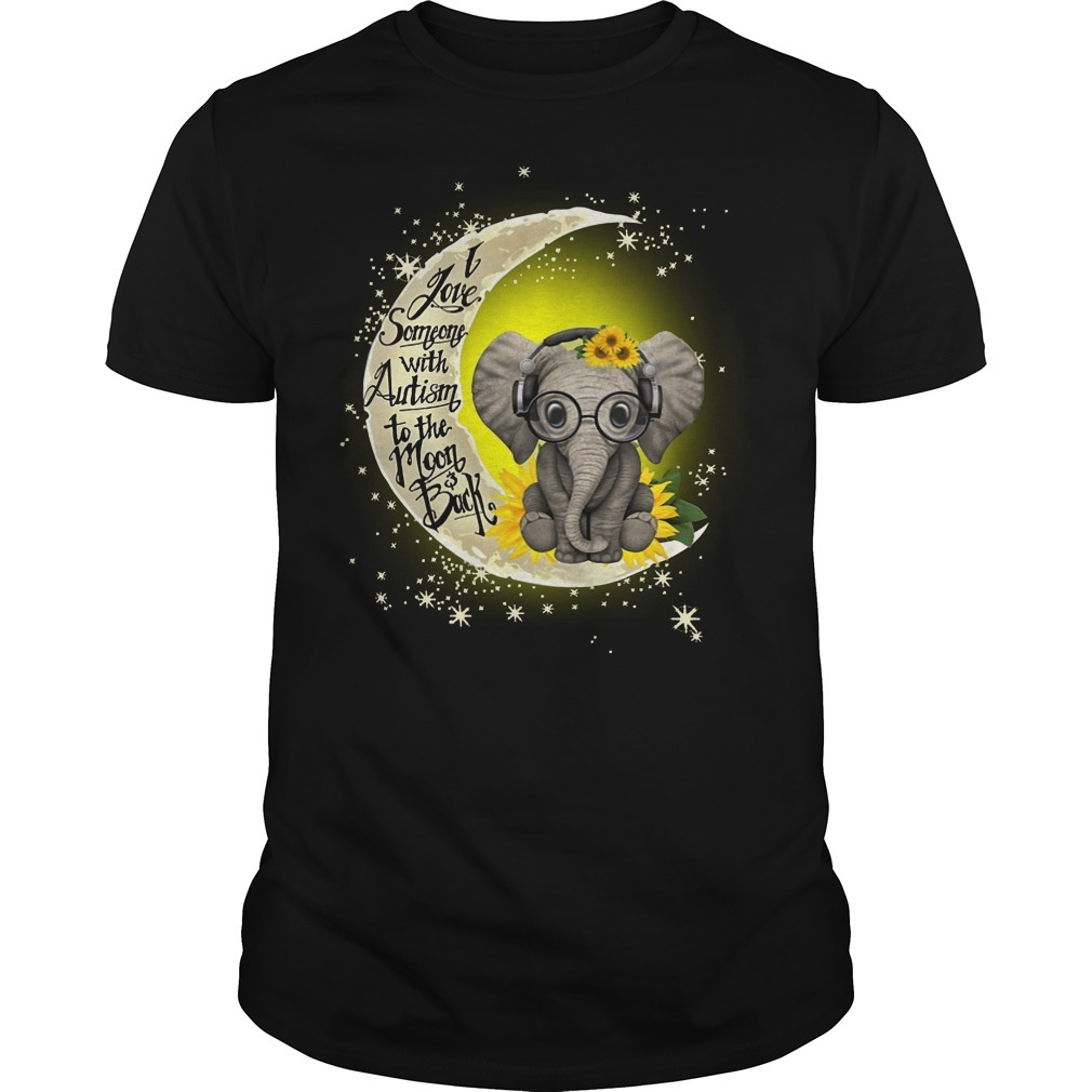 Elephant I love someone with autism to the moon and back Guys Shirt