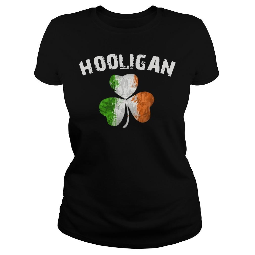 Irish flag shamrock hooligan Ladies Tee