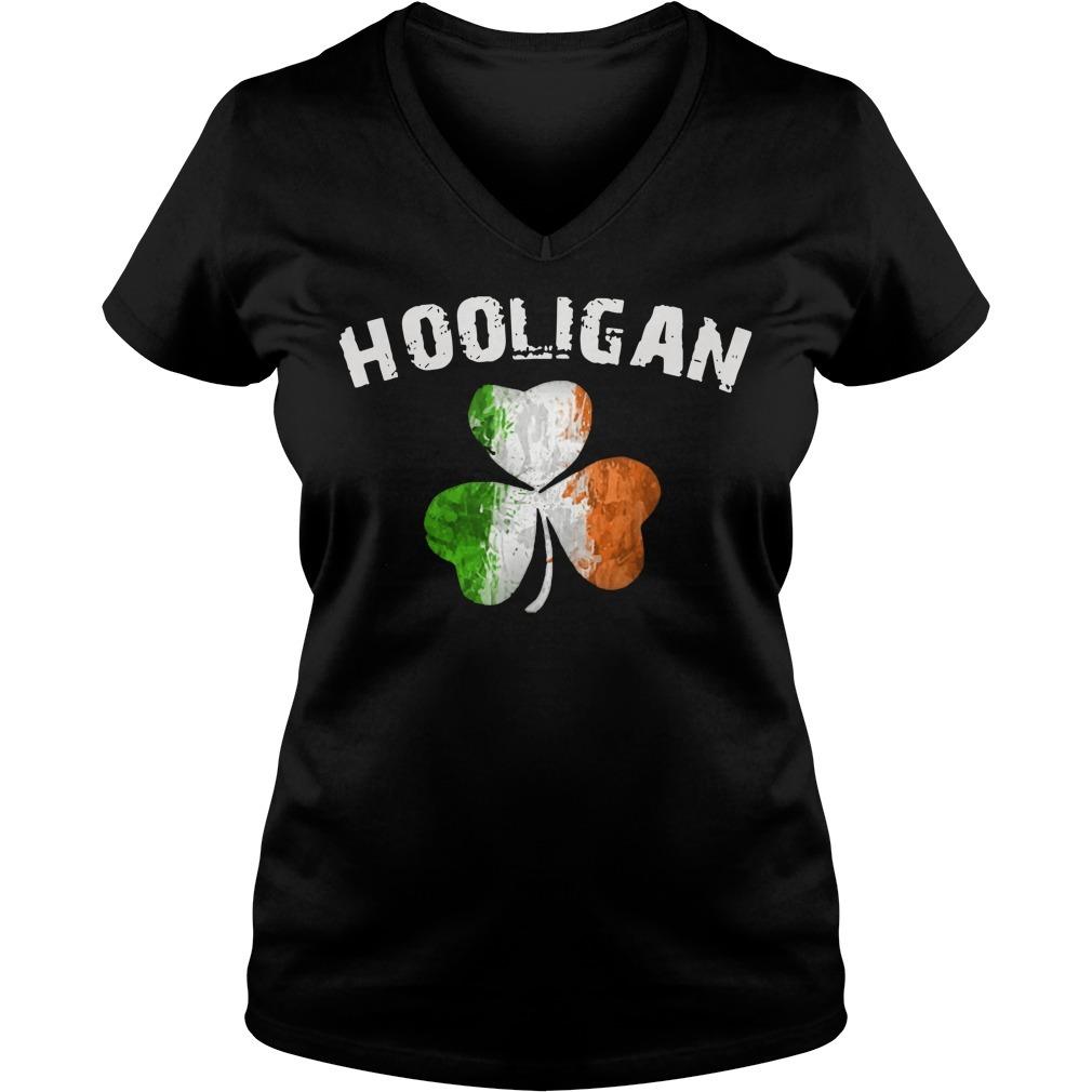 Irish flag shamrock hooligan V-neck T-shirt