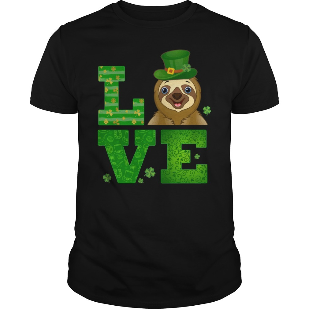 Love sloth st patricks day green shamrock Guys Shirt
