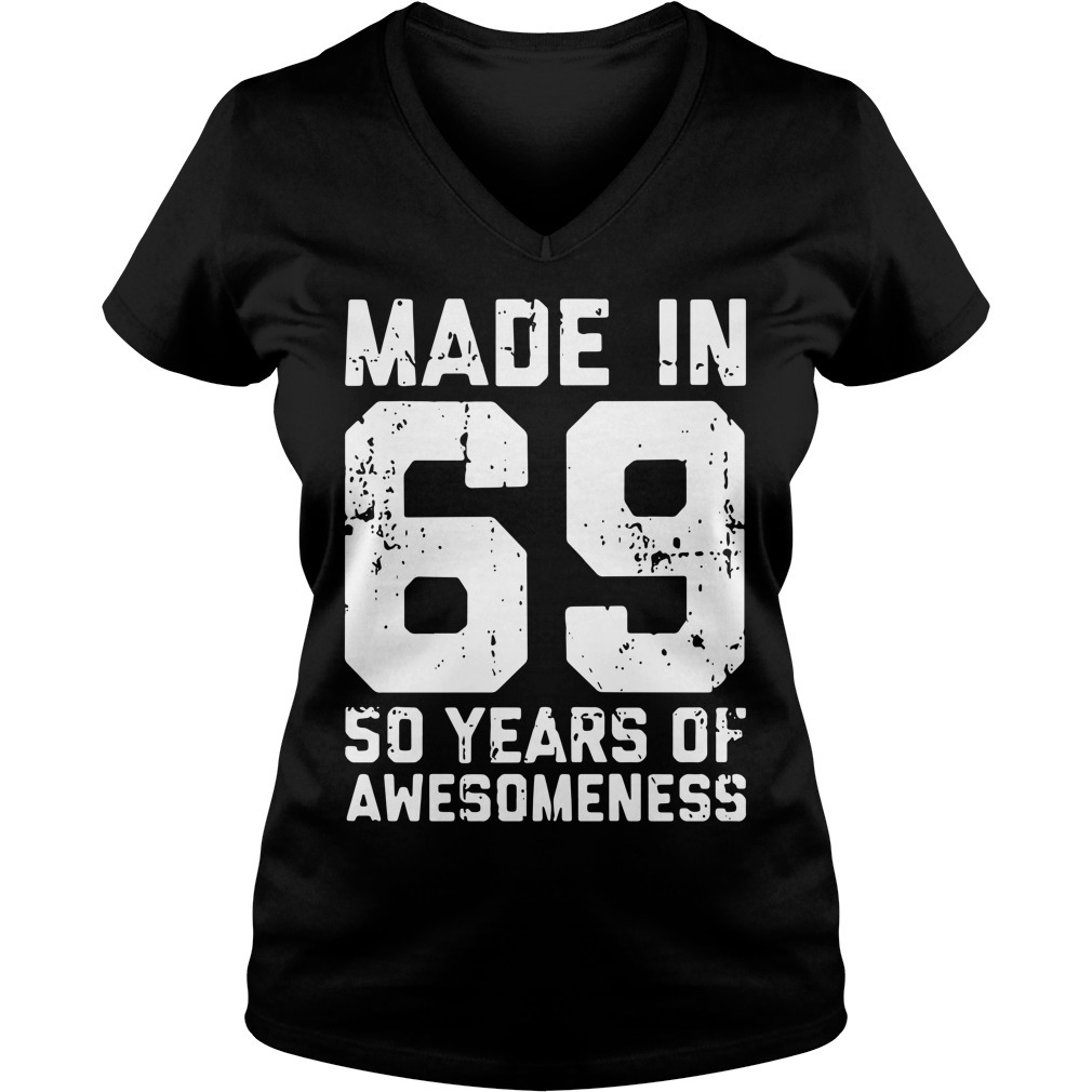 Made in 69 50 years of awesomeness V-neck T-shirt