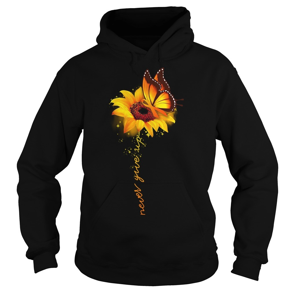 Awareness butterfly and sunflower never give up Hoodie