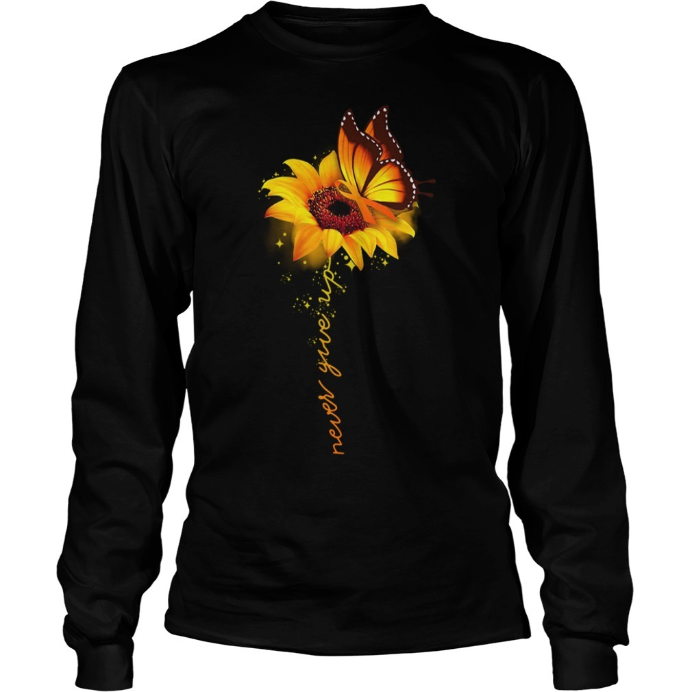 Awareness butterfly and sunflower never give up Longsleeve Tee