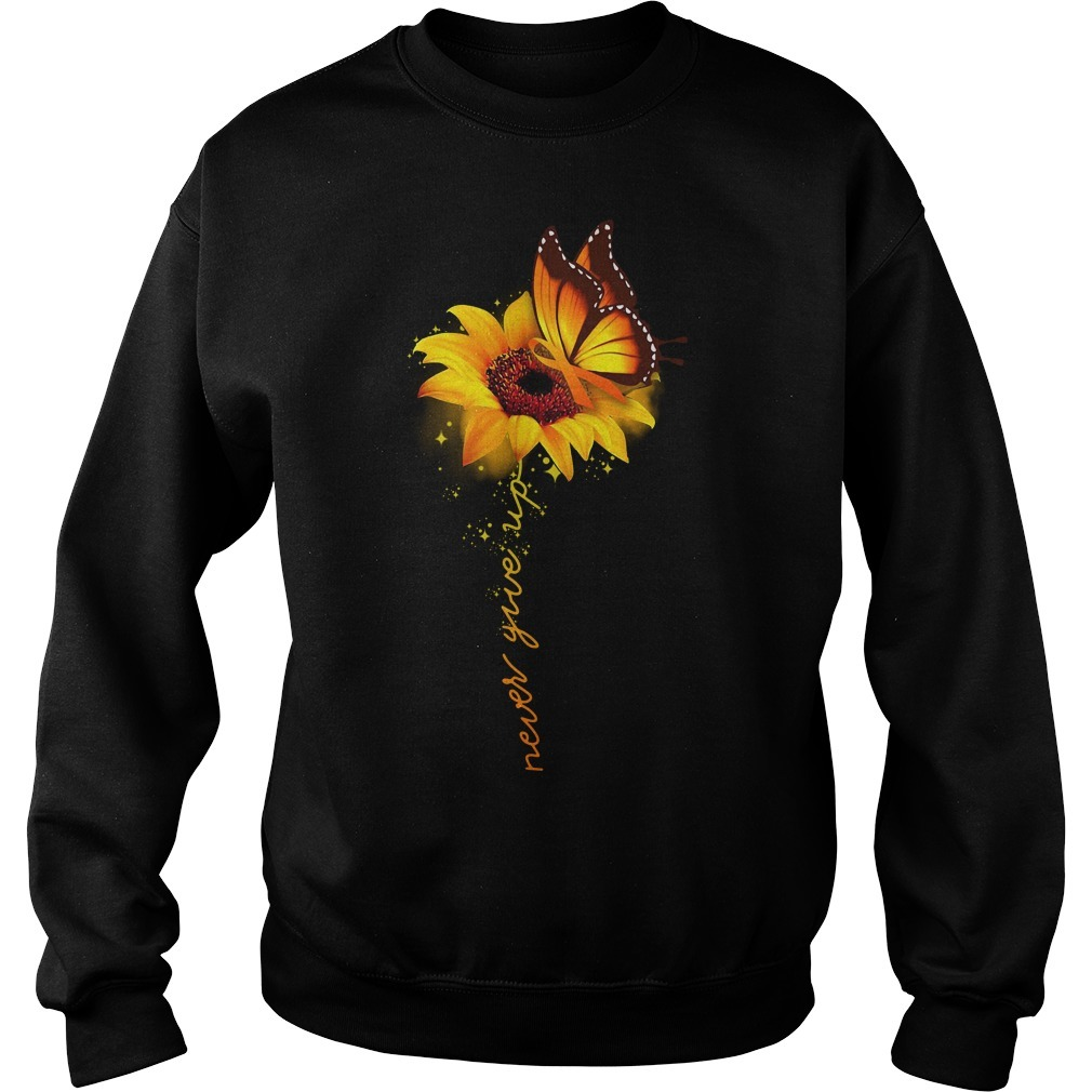 Awareness butterfly and sunflower never give up Sweater