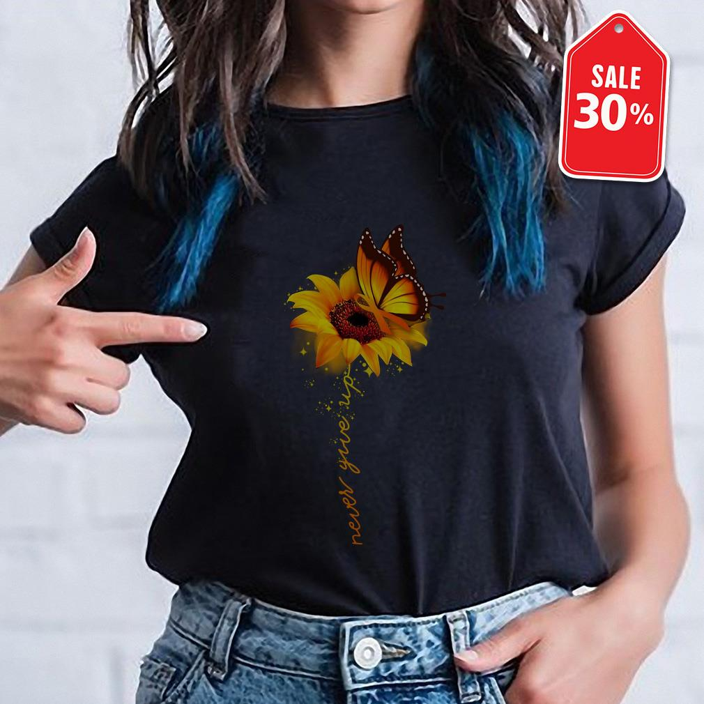 Awareness butterfly and sunflower never give up T-shirt