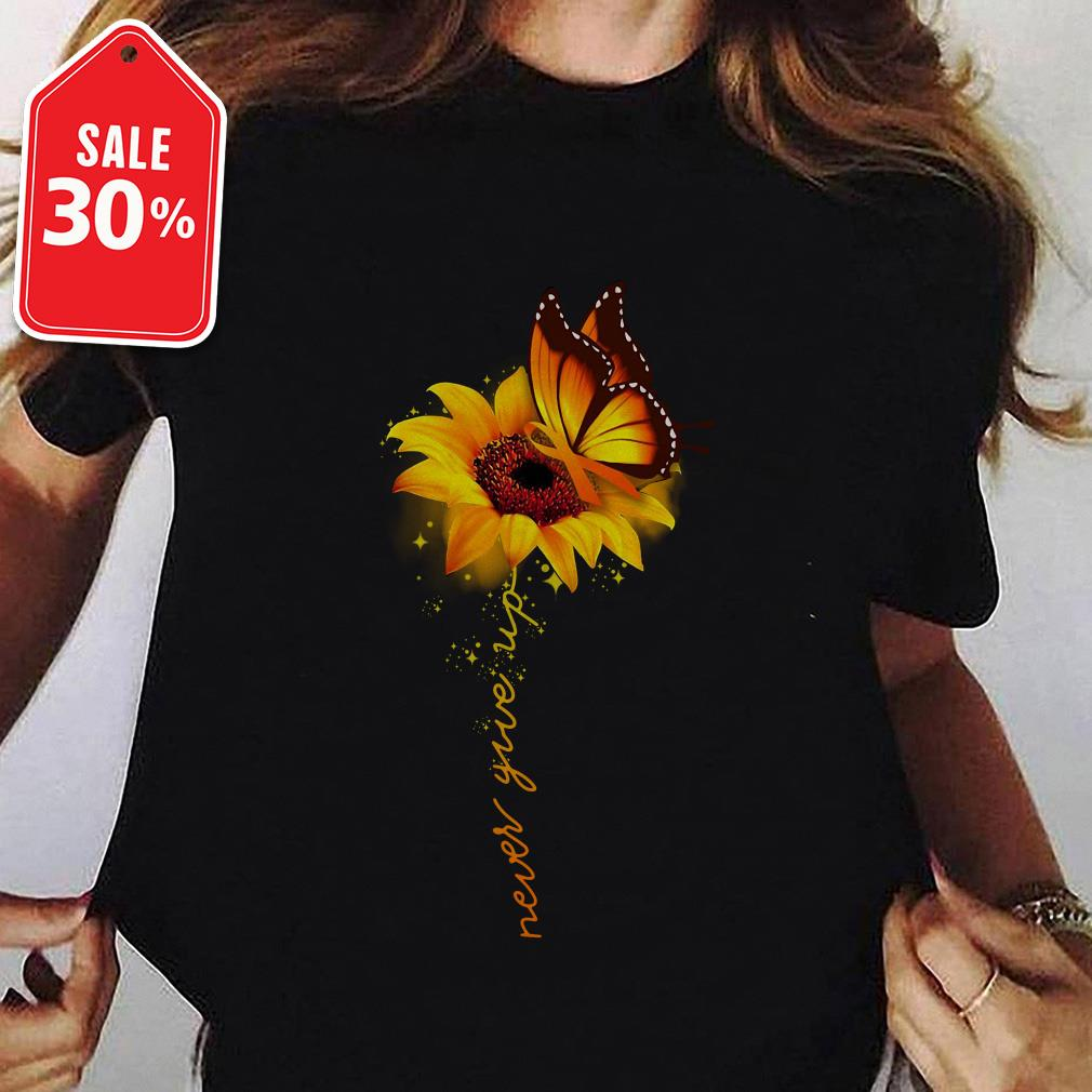 Awareness butterfly and sunflower never give up