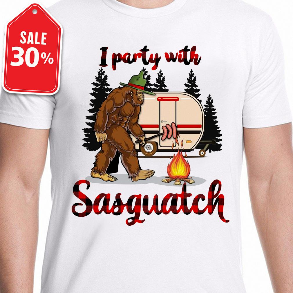 Bigfoot camping I party with sasquatch Guys shirt