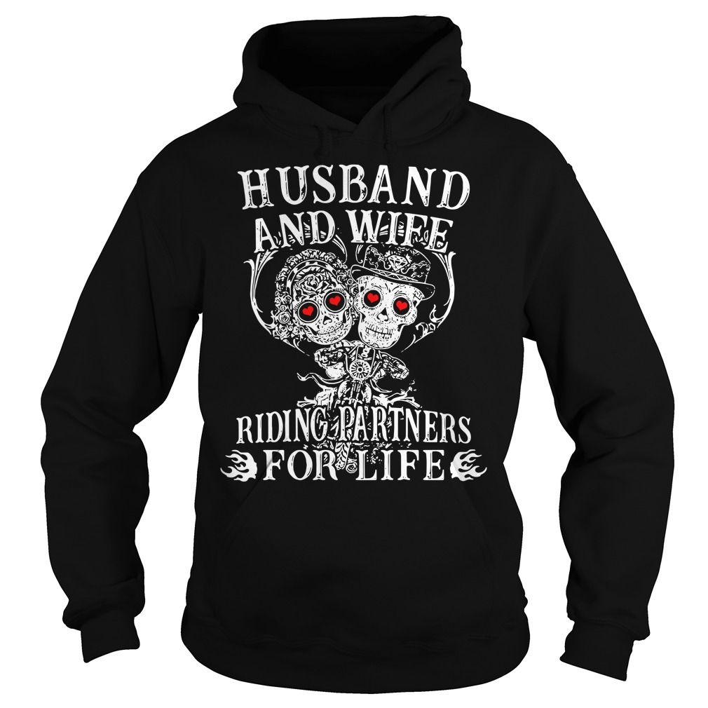 Biker husband and wife riding partners for life Hoodie
