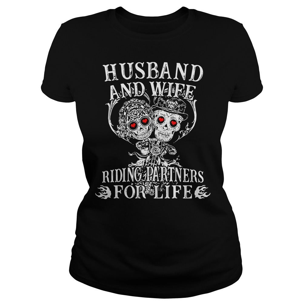 Biker husband and wife riding partners for life Ladies Tee