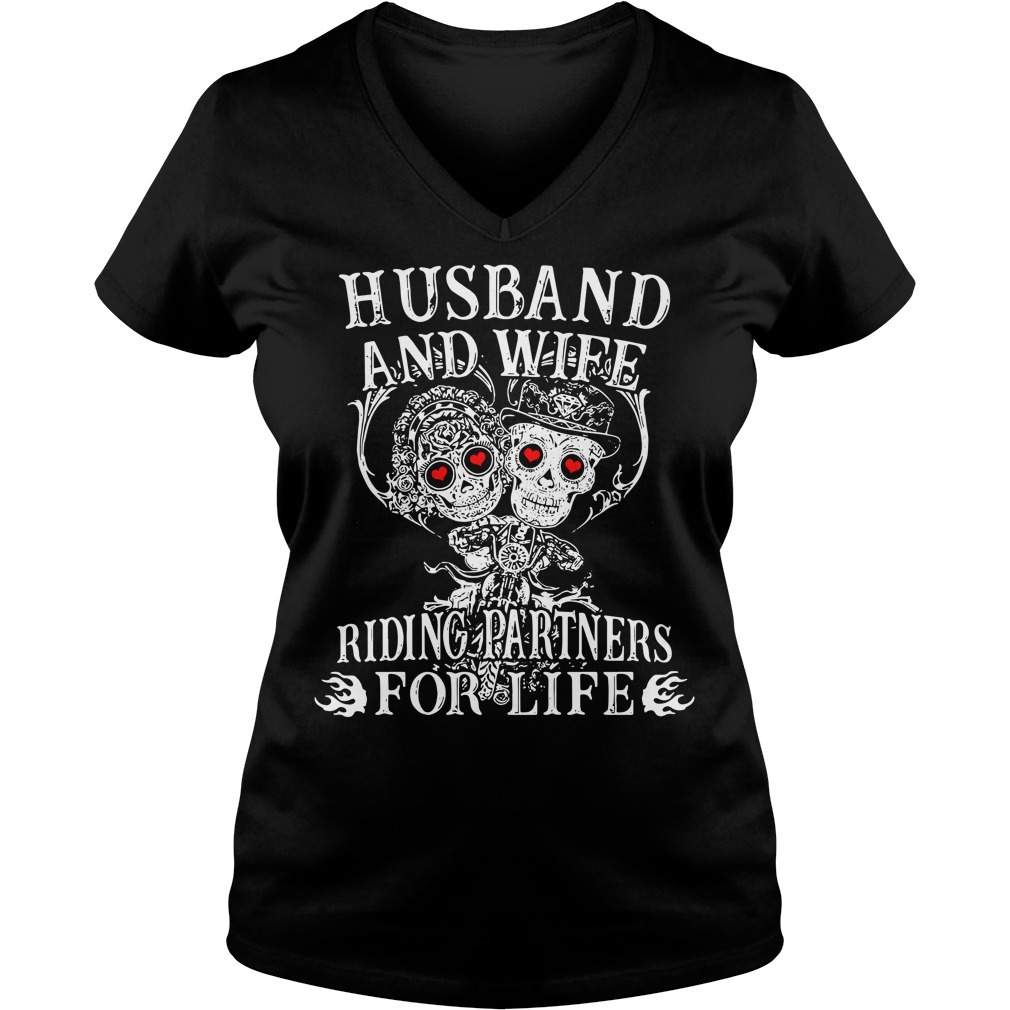 Biker husband and wife riding partners for life V-neck T-shirt