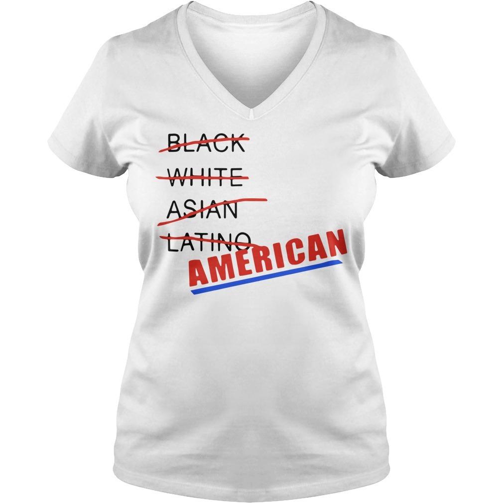 Black white Asian Latino American V-neck T-shirt