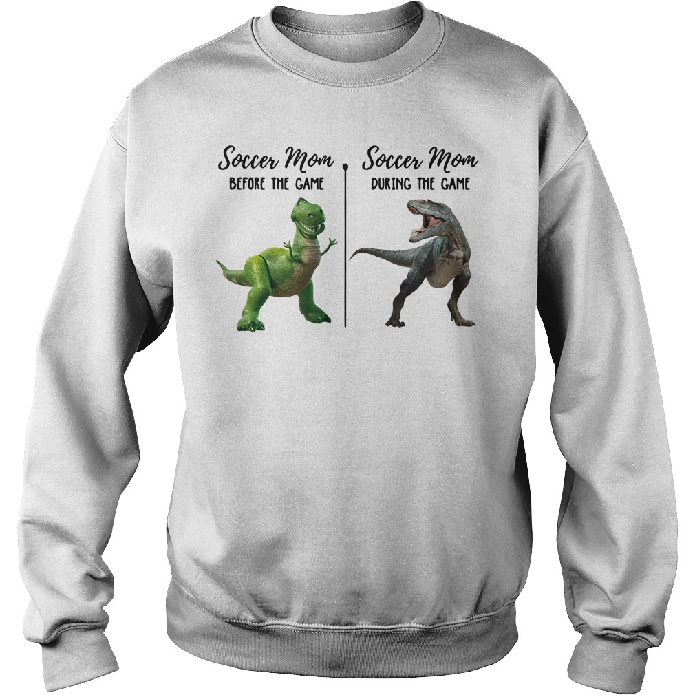 Dinosaur T-Rex soccer mom before the game during the game Sweater