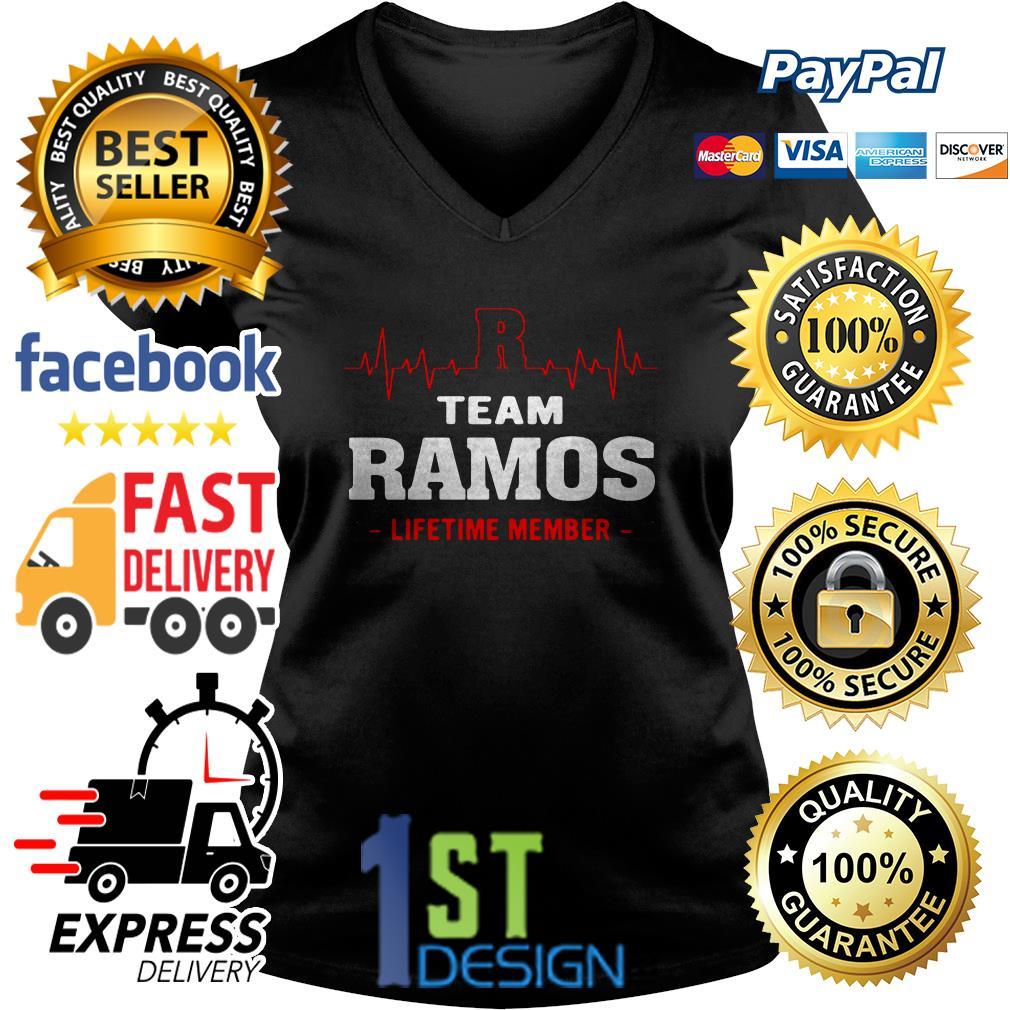 Heartbeat R team Ramos lifetime member V-neck T-shirt